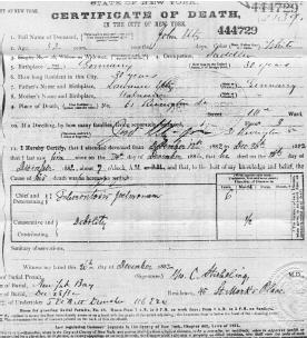 Death Certificate of John Utz, Sr., NYC Archives