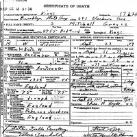 Solomon Mitchell Grouse Death Certificate in 1939.