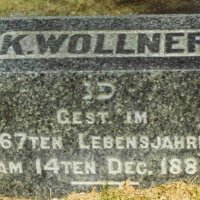 Cemetery Stone of Koppelman Wollner in Salem Field.