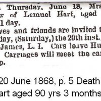 Death Notice of Tabitha Hartt,