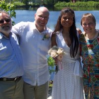Matthew Joy with Bride and Parents on Wedding Day