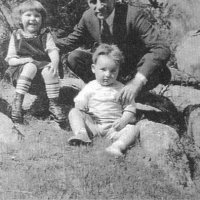 Albin Pollock with his niece, Carol and nephew Rue.