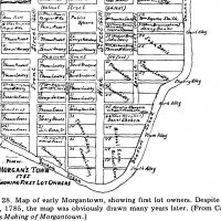 Map of Morgantown, WV c. 1785 showing John Evans.